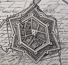 Grol in 1627, the year it was captured by Frederick Henry, Prince of Orange. Grol anno 1627 (Visscher).jpg