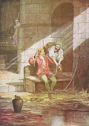 Kingdom of Gwynedd - Gruffudd ap Cynan escapes from Chester,  Illustration by T. Prytherch in 1900