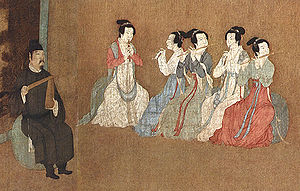 Guan (instrument) - Detail of 12th century Song Dynasty painting depicting three guan (double-reed pipe) players and two dizi (transverse flute) players, accompanied by a paiban (wooden clapper), performing in the home of Han Xizai, a minister to the Song Dynasty emperor Li Houzhu