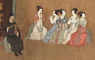 Dizi (instrument) - Detail of the 12th century Song Dynasty painting Night Revels of Han Xizai depicting two dizi players, with three guan (ancient oboe-like instrument) players and one paiban (wooden clapper)