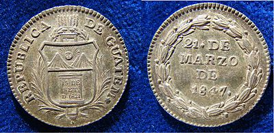 Proclamation Coin 1847 of the independent Republic of Guatemala Guatemala Real 1847 Silver Coin Fonrobert 7236.jpg