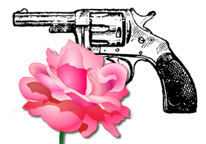 An image featuring a gun and a rose, primarily...