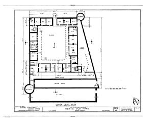 Bent's Old Fort National Historic Site - Bent's Old Fort, Lower Level Plan. HABS COLO,6-LAJUNTA County