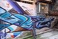 HK 上環 Sheung Wan 太平山街 Tai Ping Shan Street 水巷 Water Lane back Graffit wall painting blue dragon April 2018 IX2 04.jpg