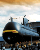 """A submarine emerging from a large building. The submarine is decorated with flags, and the name """"COLLINS"""" is painted across the front. There are a number of people around the base of the submarine."""