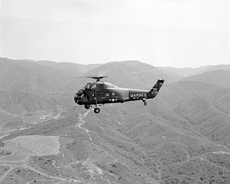 VMM-363 - A UH-34D from HMH-363 flying near MCAS Tustin in 1964.