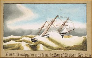 HMS Amethyst (1844) - HMS Amethyst, in a gale in the Bay of Biscay, 27 September 1856
