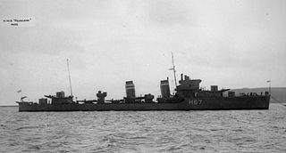 HMS <i>Fearless</i> (H67) F-class destroyer built for the Royal Navy during the 1930s