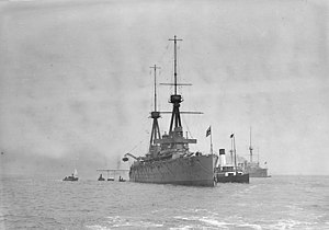 HMS Invincible (1907) - Invincible anchored at Spithead in June–July 1909