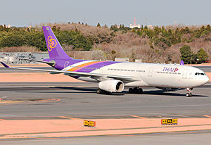 Fuel economy in aircraft - An Airbus A330 from Thai Airways at Tokyo Narita