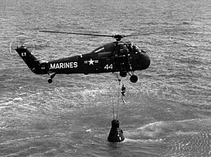 USS Lake Champlain (CV-39) - HUS-1 helicopter from Lake Champlain recovering the Freedom 7 capsule