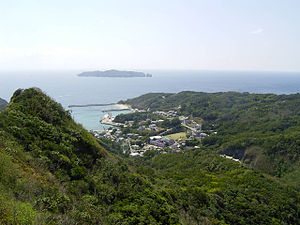 Hahajima - Oki village, Mukōjima in the distance