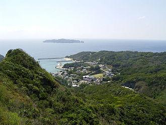 Hahajima - Oki village, Mukōjima in the distance