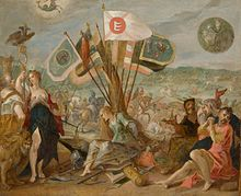 A captured woman sits before flags, surrounded by captured men and a half naked woman holding a spear with the imperial twin-headed eagle