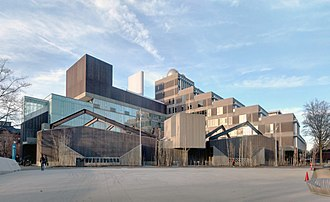 Harvard Science Center - View from southwest. Domes on roof house astronomical telescopes