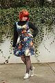 Heart and Solar System Dress over a Mock Neck Sweater, Fishnet Tights, and Silver Shoes.jpg