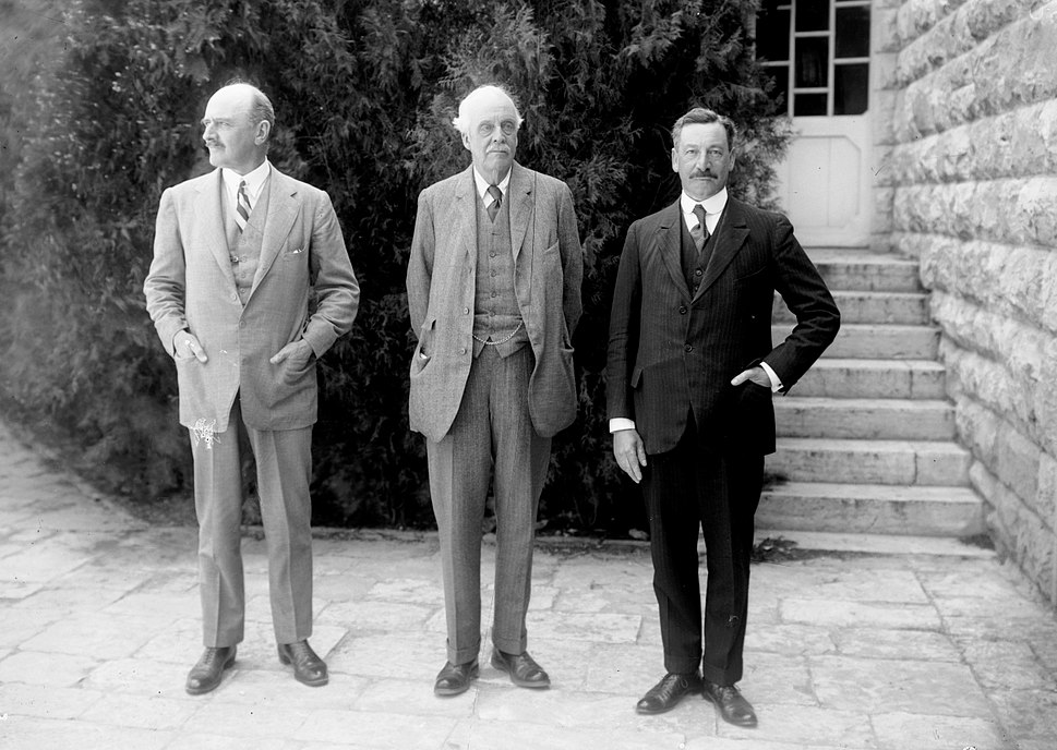 Hebrew University and Lord Balfour's visit. Lord Allenby, Lord Balfour and Sir Herbert Samuel. 1 April 1925. matpc.05811