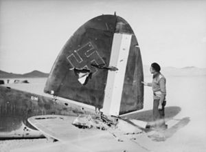 1941 Iraqi coup d'état - Tailplane of a downed Heinkel He 111 bomber with German and Iraqi markings