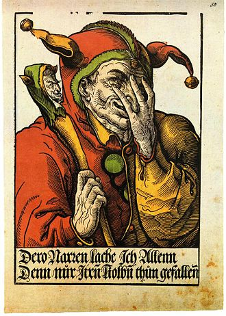 Marotte - A jester shown with a marotte in a 1540 woodcut by Heinrich Vogtherr the Younger