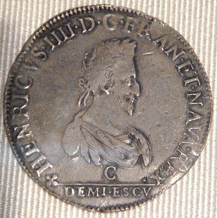 Demi-ecu coin of Henry IV, Saint Lo (1589) Henri IV demi ecu Saint Lo 1589.jpg