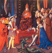 Peinture montrant deux groupes d'hommes face à face avec un personnage en habits pontificaux assis sur un trône au centre