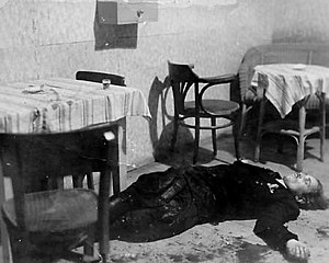 """Henryk Flame - """"Bartek""""'s corpse after being killed in a restaurant in Zabrzeg"""