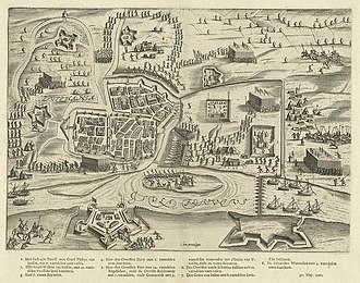 Siege of Zutphen (1591) - Siege of Zutphen in 1591 by Bartholomeus Dolendo - The English are attacking the sconce at top of picture