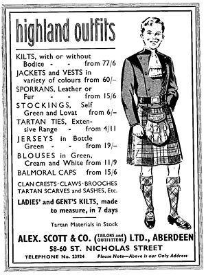 Doublet (Highland dress) - Advertisement for Highland dress depicting a variant of the double breasted Sheriffmuir Doublet.