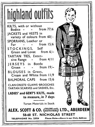 Doublet (Highland dress) - Advertisement for Highland dress depicting a variant of the double breasted Montrose Doublet.