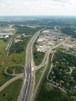 Ontario Highway 8 - An aerial view of the interchange between Highway 8 (Freeport Diversion) and King Street East in Kitchener.