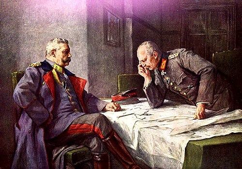 Hindenburg (seated) and Ludendorff. Painting by Hugo Vogel Hindenburg-ludendorff.jpg
