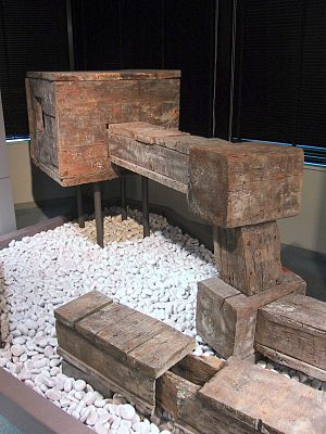 Water supply and sanitation in Japan - Historic wooden water pipes as shown in the Tokyo Metropolitan Bureau of Waterworks. Originally, these were underground.