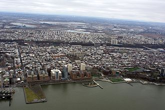 Hoboken, New Jersey - An aerial view of Hoboken from above the Hudson River