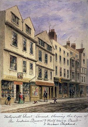 Holywell Street, London - Holywell Street, Strand. by Thomas Hosmer Shepherd (1793-1864)