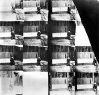 1887 in film - Man Walking Around a Corner, unremastered film, original frames copy by National Science Museum, London c. 1931. (Courtesy NMPFT, Bradford)