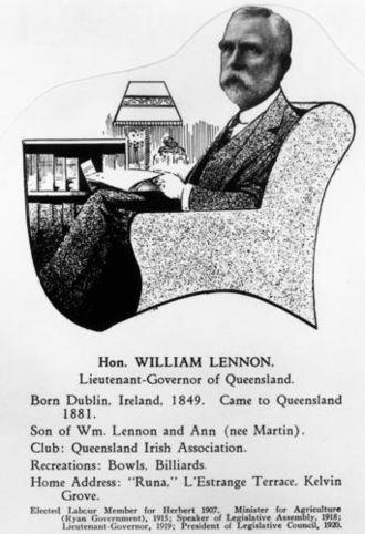 William Lennon - Hon. William Lennon – taken from The Men Of Queensland 1929