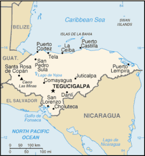 Water supply and sanitation in Honduras - A map of Honduras.