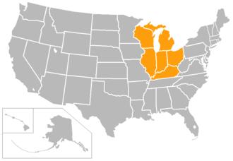 Horizon League - Image: Horizon League map 2015