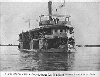 Battle of Sheikh Sa'ad - Hospital Ship No. 1, one of the few available, on the Tigris River in 1916 carrying British and Indian wounded back to the British clearing hospital at Falahiyah during the relief force's attempt to rescue the Kut garrison.
