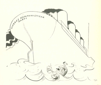 Left Party (Sweden) - 1929 caricature in Folkets Dagblad Politiken, illustrating the Kilbom-led party as a mighty cruise ship and the Sillén-led party as a small rowboat lost at sea.