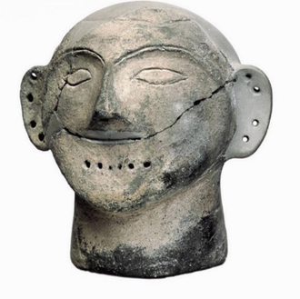 Varna Necropolis - Clay anthropomorphic head, Late Chalcolithic period, 4500-4000 BCE, Hamangia Culture, found submerged in Varna Lake, Varna Archeology Museum