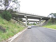 Twin bridges carrying the Hume Highway over Greenhills Road north of Berrima 34°28′S, 150°21′E