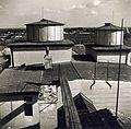 Hunyadi János utca 23-25., az Érseki Főgimnázium (ma Szent István Gimnázium) tetején a Haynald-Obszervatórium (Csillagda) kupolái a meteorológiai megfigyelő állomástól nézve. Fortepan 100304.jpg