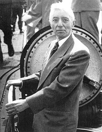 Hyman G. Rickover - Admiral Rickover looking over USS Nautilus, the world's first nuclear-powered vessel.