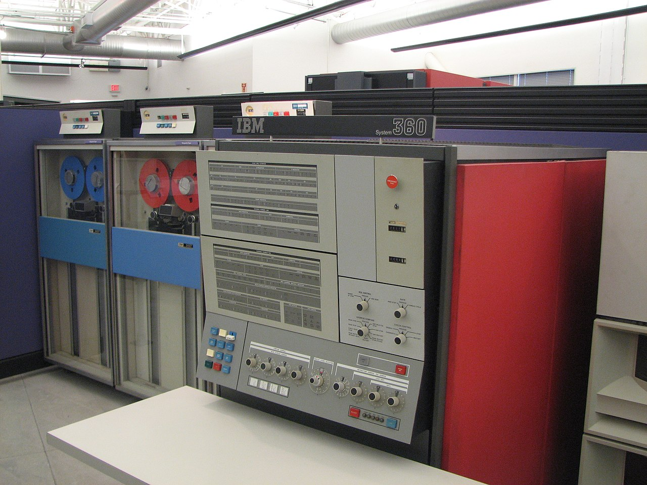 Computer room with multiple computer cabinets and operating panel