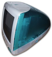 "The original ""Bondi Blue"" iMac G3, introduced in 1998. One of the first products produced under CEO Steve Jobs since he left the company in the mid eighties, it brought Apple back into profitability."