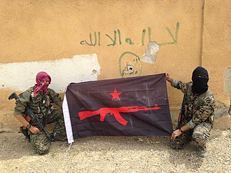 Battle of Raqqa (2017) - Foreign volunteers of the anarchist IRPGF, a unit of the International Freedom Battalion, in Raqqa