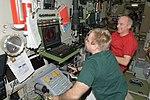 ISS-22 Maxim Suraev at manual TORU system controls with Jeffrey Williams.jpg