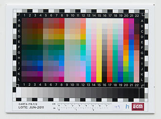 Color chart - This is an IT8 color target made in EGM Laboratories in Barcelona, Spain. It has a very big gamut, slightly bigger than the ProPhoto color space.