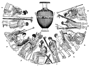 "Eubuleus - In this drawing of figures around the neck of the ""Queen of Vases"" (pictured center), the bare-chested pig-bearer at position 8 is most likely Eubuleus"